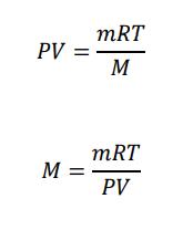PV=mRT/M  M=mRT/PV
