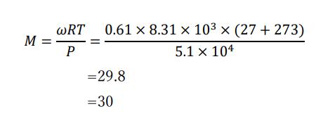 密度から分子量を求める問題の答え